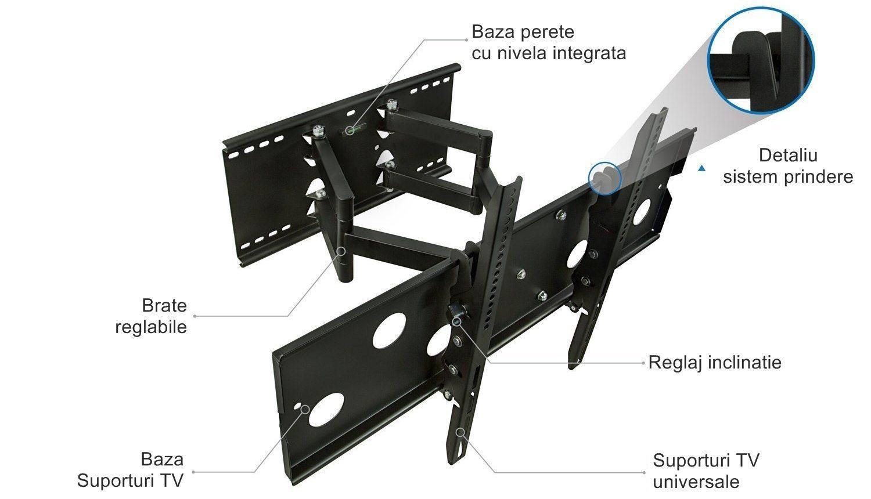 Parti componente suport TV de perete reglabil