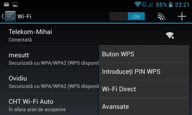 Meniu Wi-Fi Direct