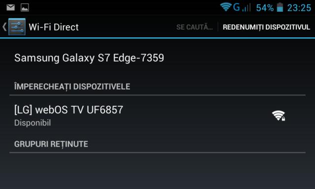 Selectare TV in meniul Wi-Fi direct